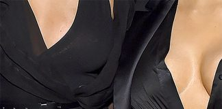 Kim kardashian Chrissy Teigen low cut black cleavage baring dresses john legend birthday party