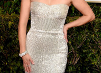 Reese Witherspoon strapless Calvin Klein dress 2015 Golden Globe Awards