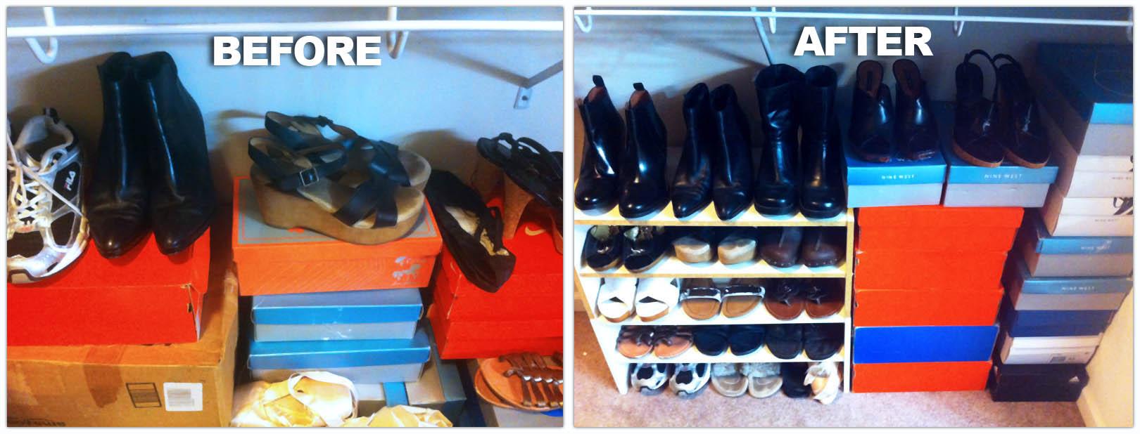 Monicau0027s Closet Shoes Organized