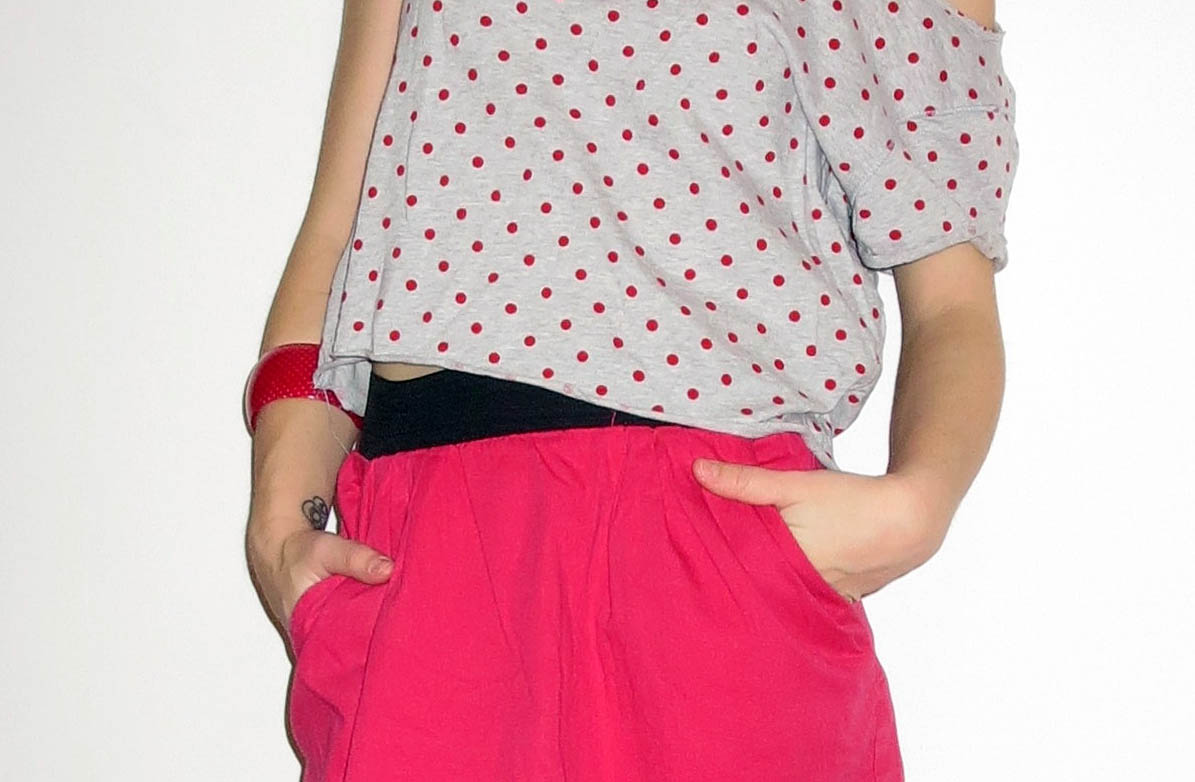 pink dots top pink skirt