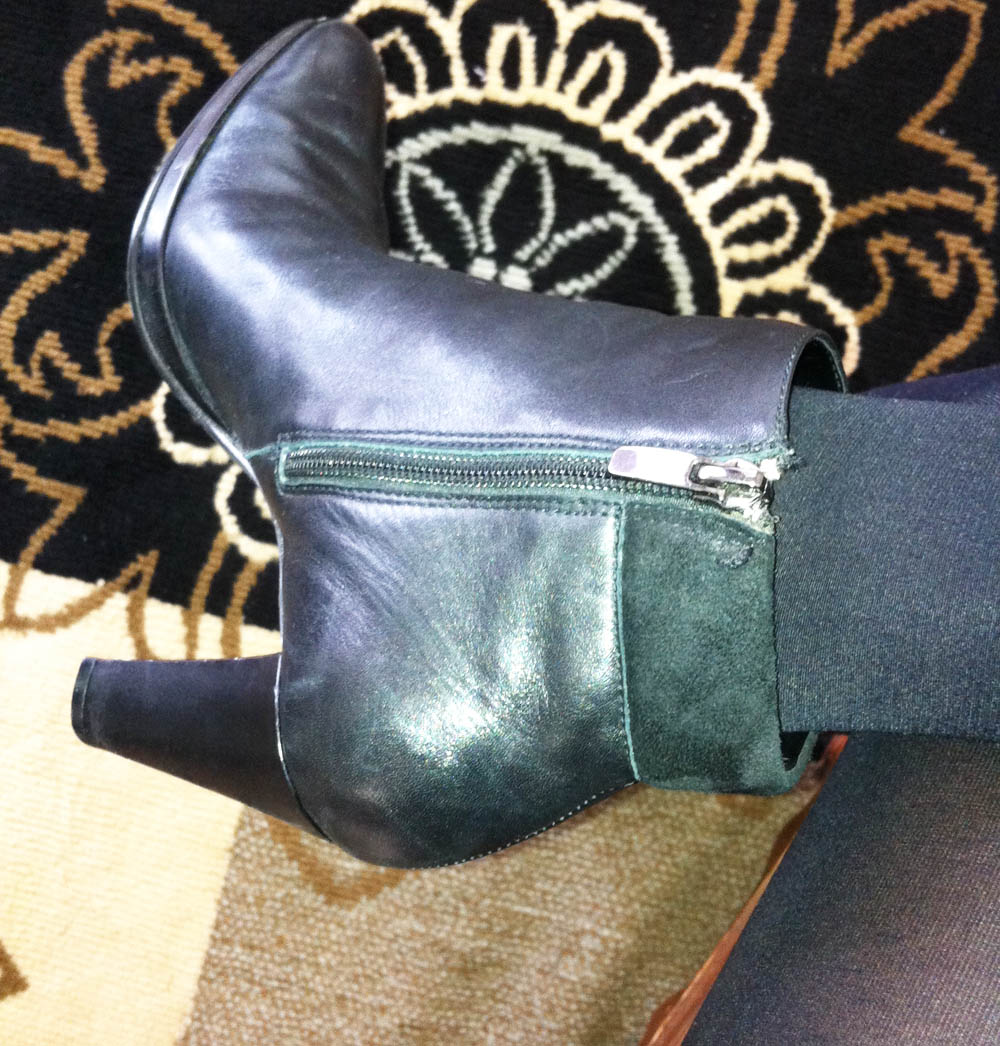 3 and a half inch black leather ankle boots pointy toe