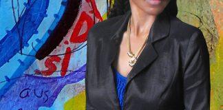 Black jacket blue top black leather skirt blue high heel pumps