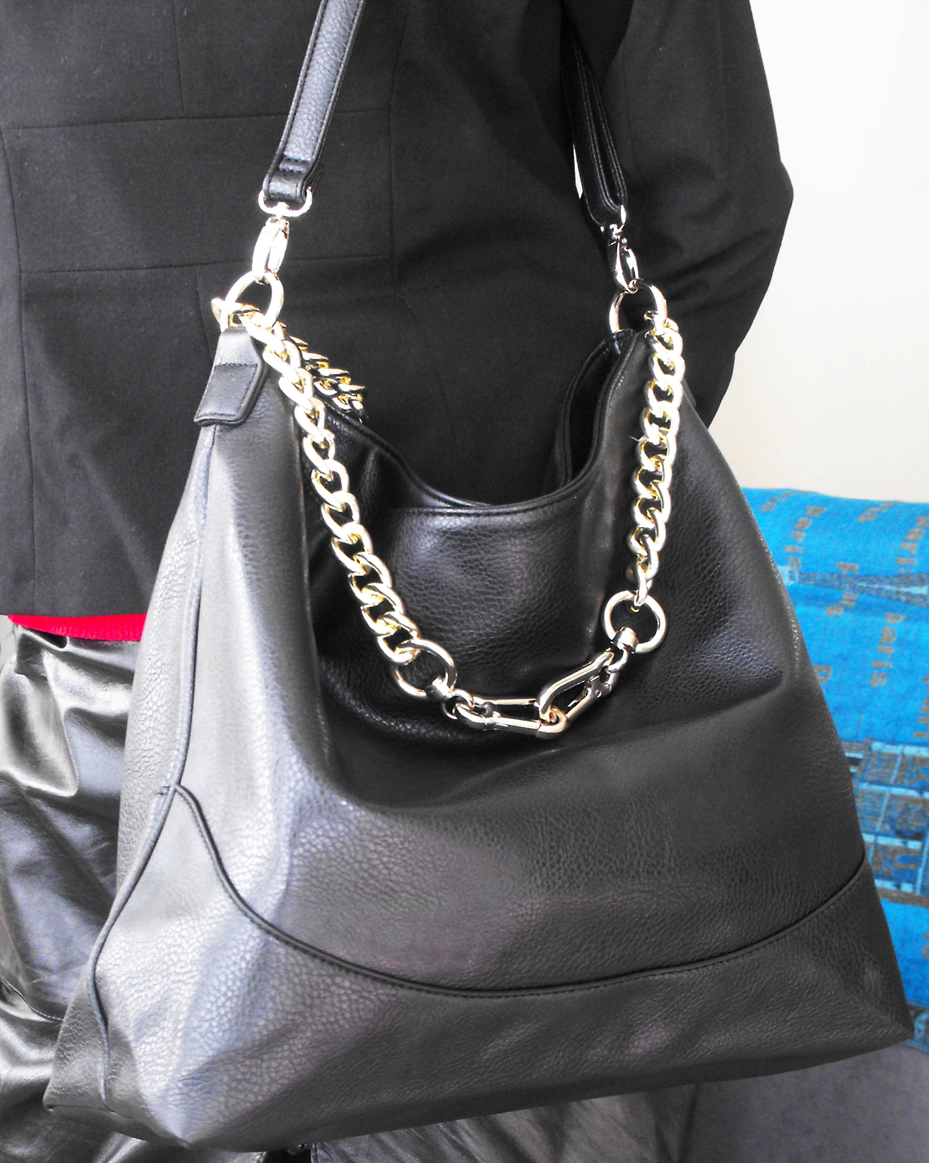 Justfab black faux leather Maxwell bag