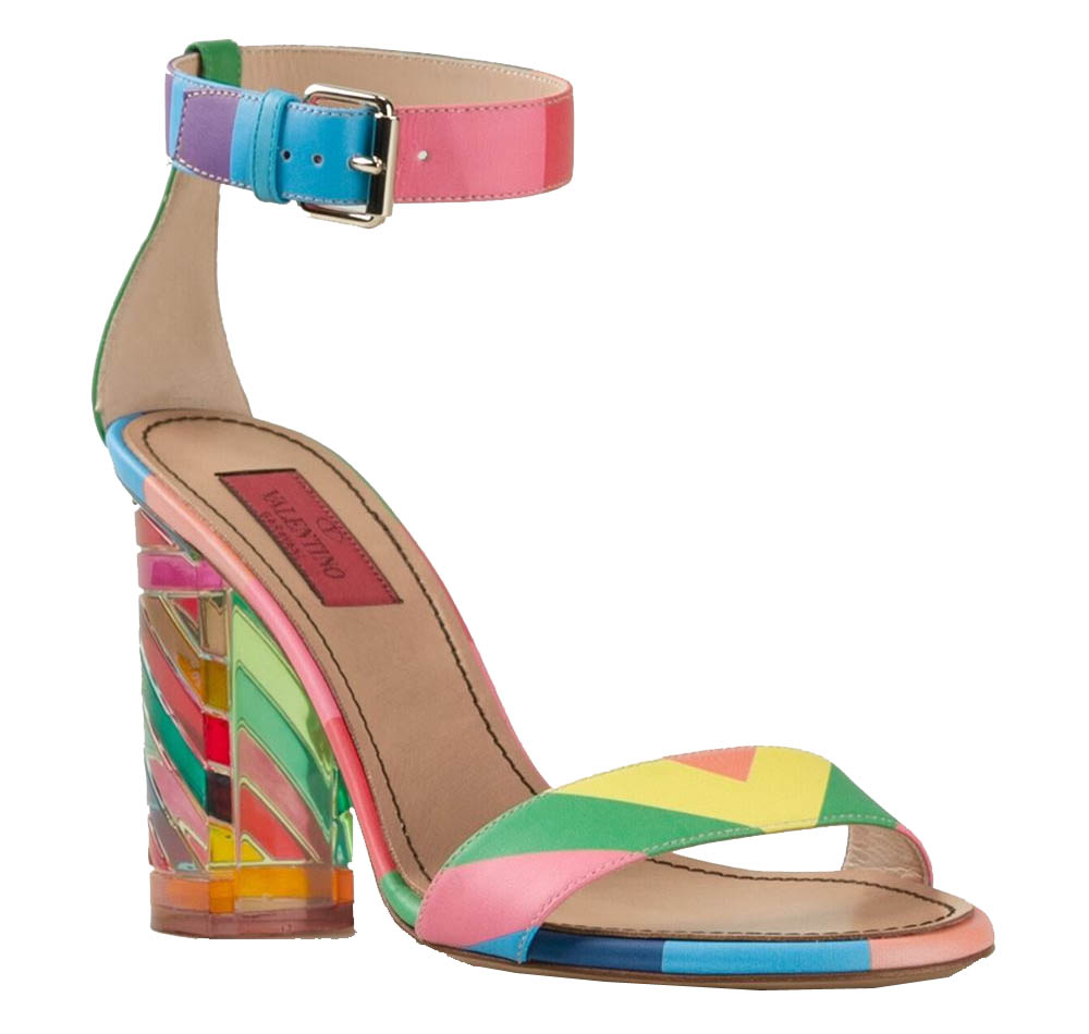 Multicoloured calf leather chunky heel sandals from Valentino Garavani