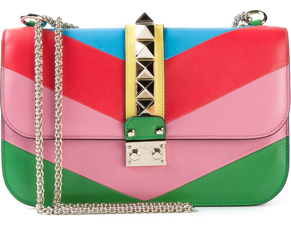 Red blue yellow pink green Multicoloured leather Glam Lock shoulder bag from Valentino Garavani