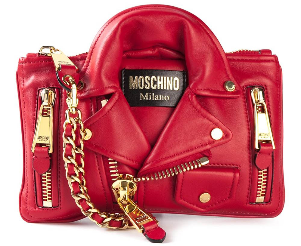 Red sheepskin biker clutch from Moschino