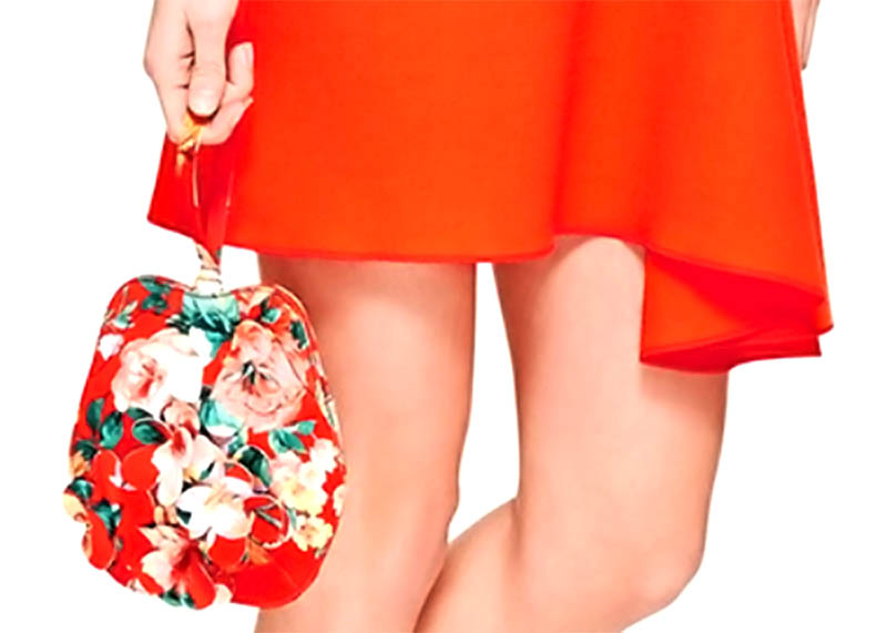 Simone Rocha Mad Flower Print Purse red dress