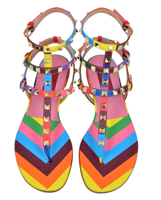 Valentino Rockstud 1973 Multicolor Thong Sandal