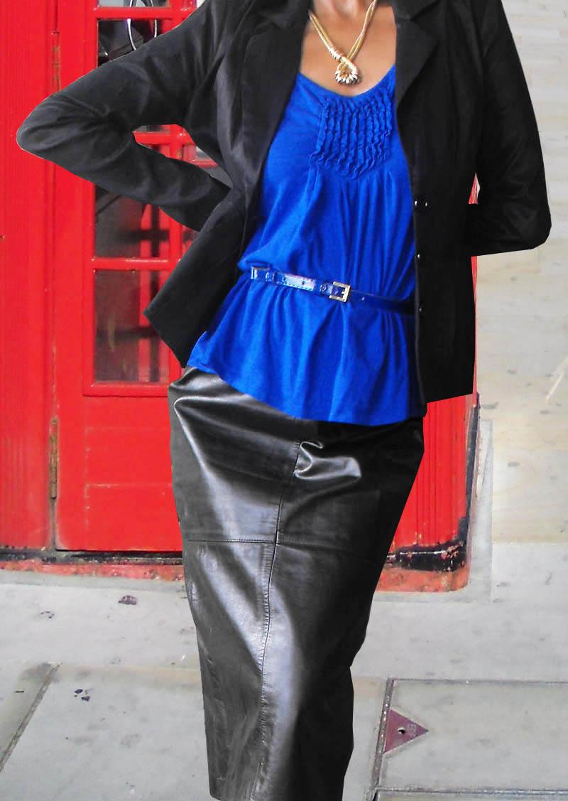 blue pumps black leather skirt London 2