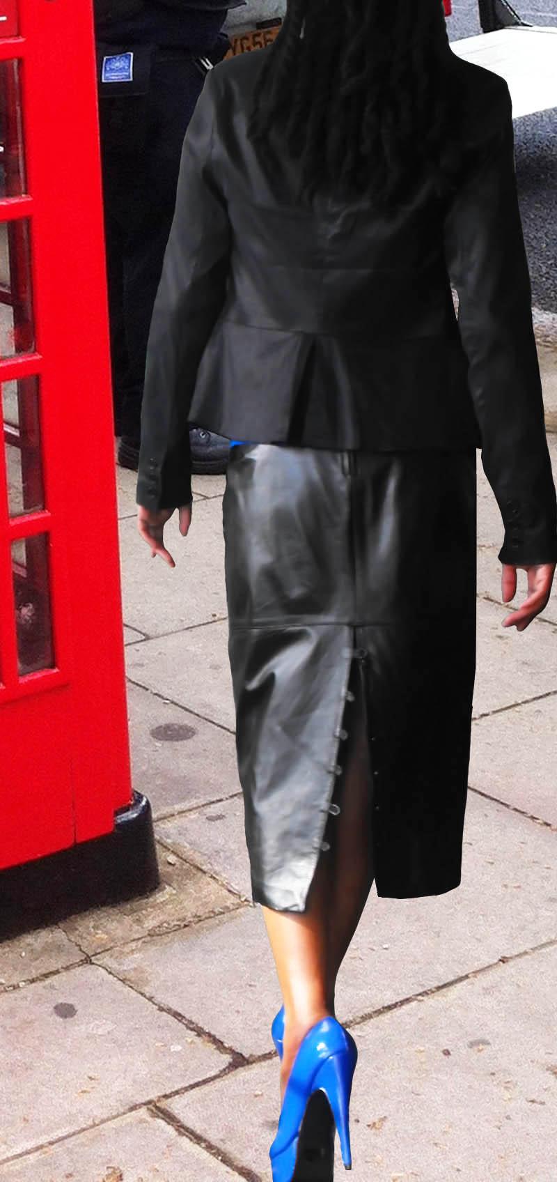 blue pumps black leather skirt London
