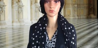 mannequin animal print dress black white polka dot scarf