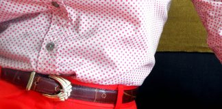 pink polka dot button collar long sleeve bloue red skirt