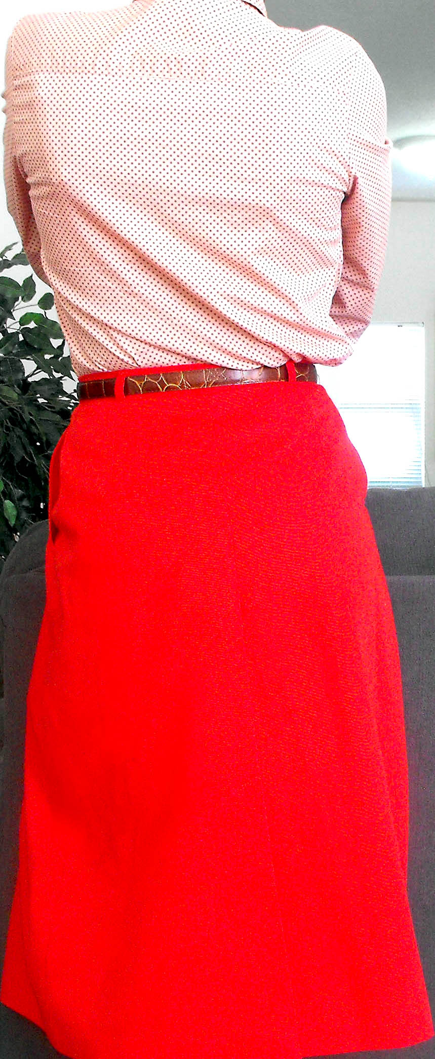 pink polka dot button collar long sleeve bloue red skirt 4
