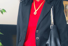 red top black blazer black leather skirt