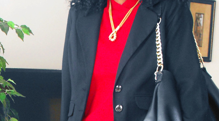 red top black blazer black leather skirt
