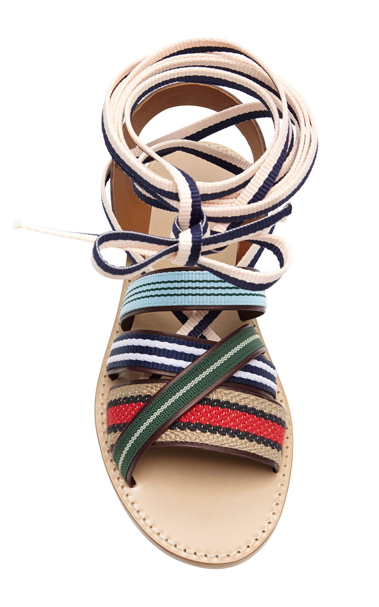 Band of Outsiders Strappy Multicolor Ankle-Tie Sandals