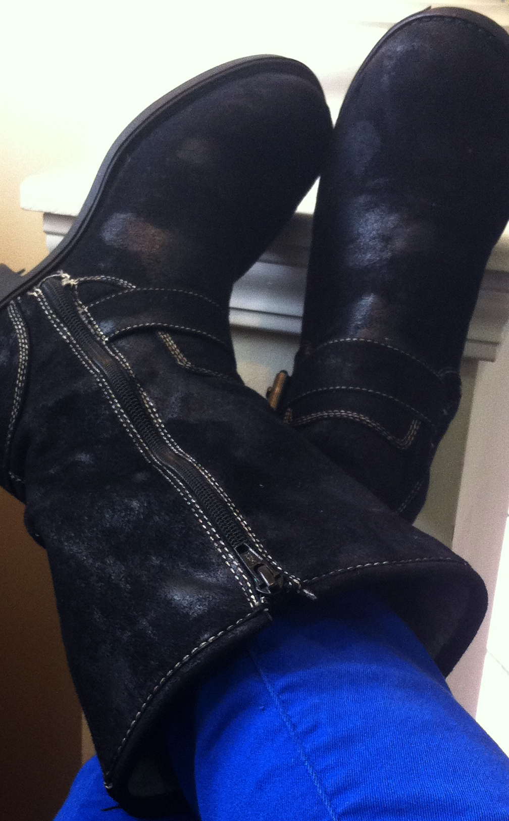 Black faux suede Decree boots beat up battered trusty old