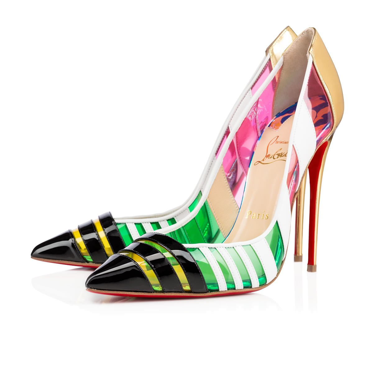 Christian Louboutin Bandy alternating stripes multicolored kid leather PVC patent pumps