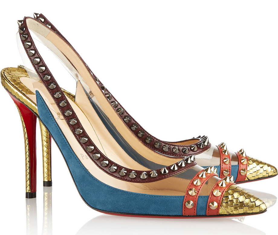 Christian Louboutin Cloo 100 studded snake PVC and leather slingback pumps
