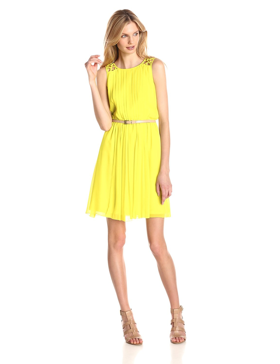 Citronelle yellow Jessica Simpson Women's Chiffon Pleated Dress with Lattice Shoulder Detail