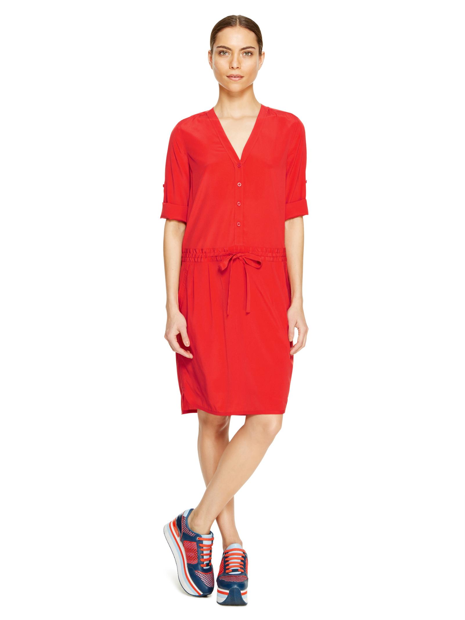 DKNY blazing red Half Button Thru Shift Dress