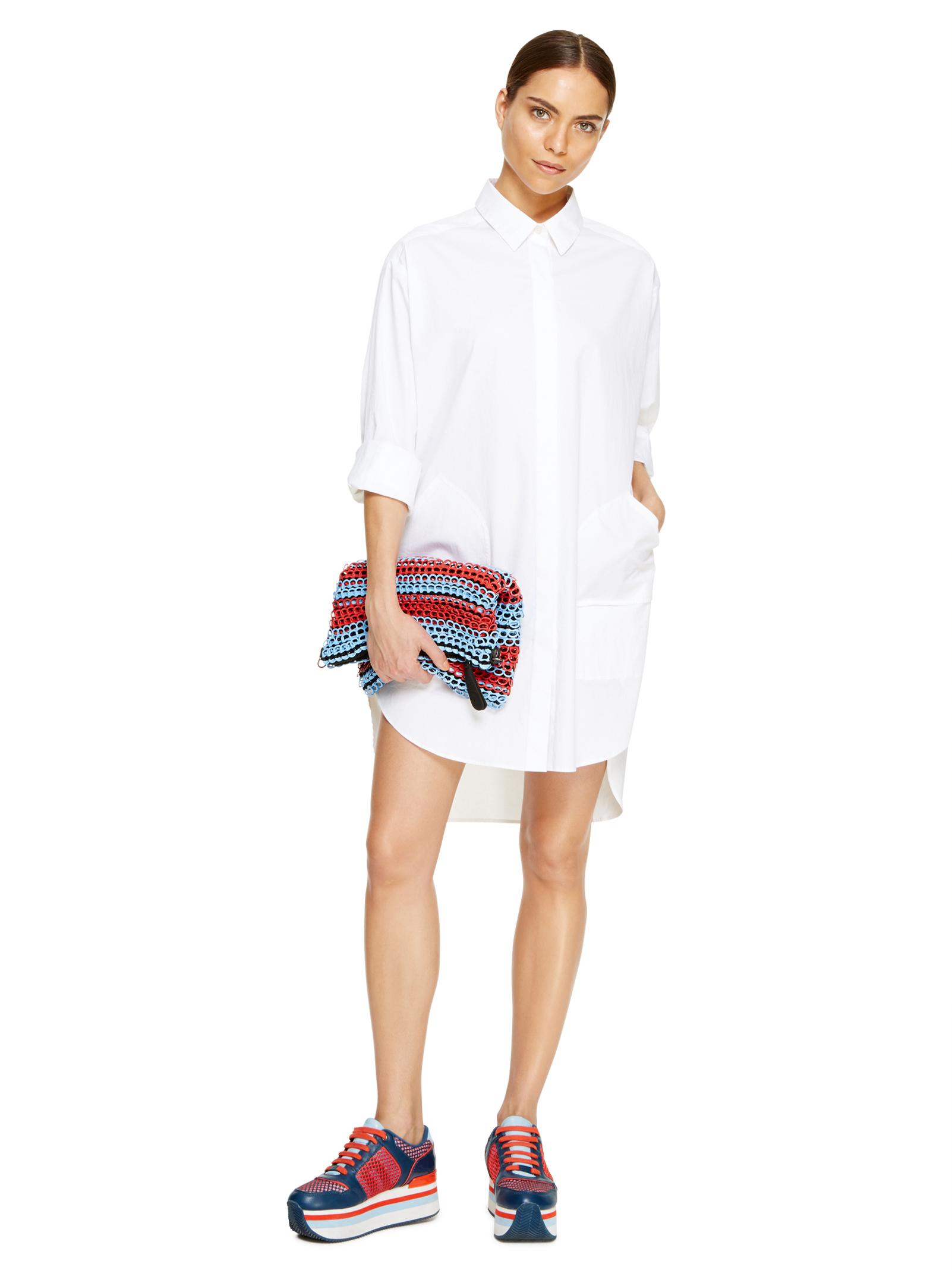 DKNY white cotton tunic shirt dress