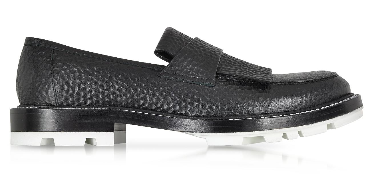 Jil Sander Black Hammered Leather Loafer w-White Sole