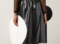 Junya Watanabe Comme Des Garcons black white faux leather circle skirt