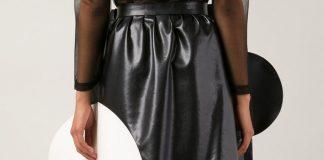 Junya Watanabe Comme Des Garcons black white faux leather circle skirt
