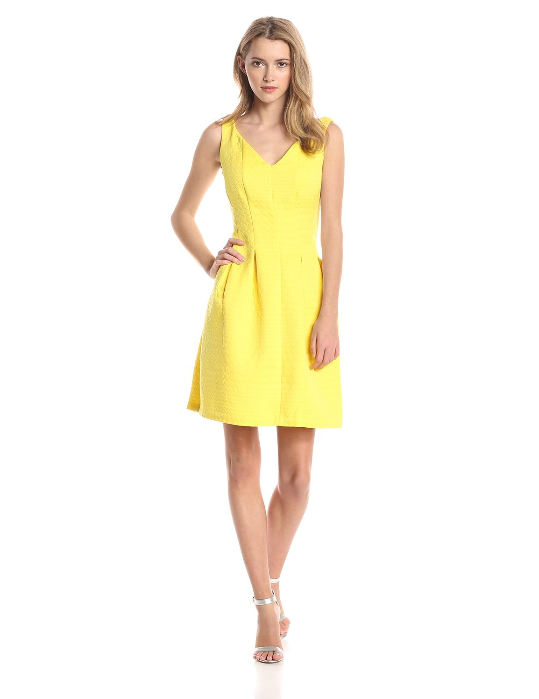 Lemon yellow Taylor Dresses Women's Bubble Jacquard Fit and Flare Dress