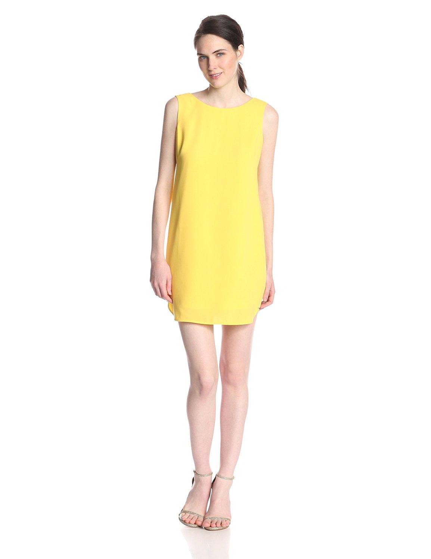 Light lemongrass yellow BCBGMAXAZRIA Women's Ellie Sleeveless Cowl-Back Shift Dress