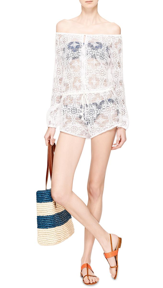 Love Shack Fancy white Vintage Lace Romper
