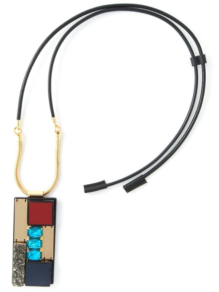 Marni rectangular pendant necklace