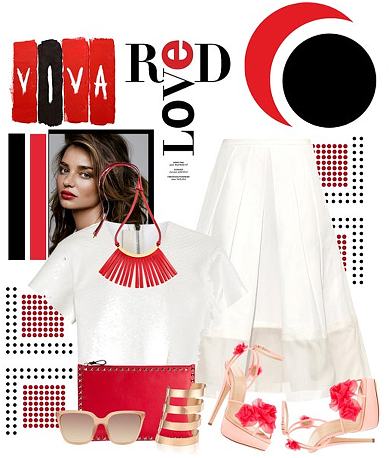 Marni red leather fringed necklace white top white skirt charlotte olympia sandals red clutch