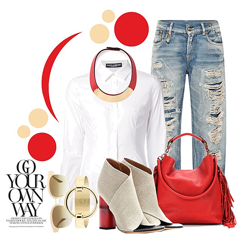 Marni red leather gold detail necklace white shirt blue ripped jeans