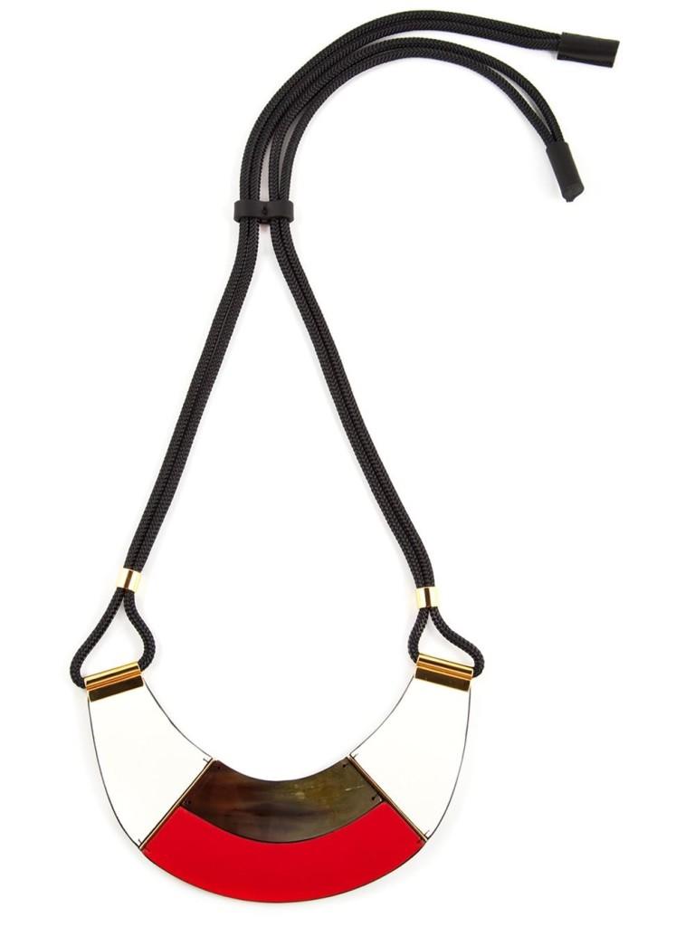 Marni red white gold colour block necklace