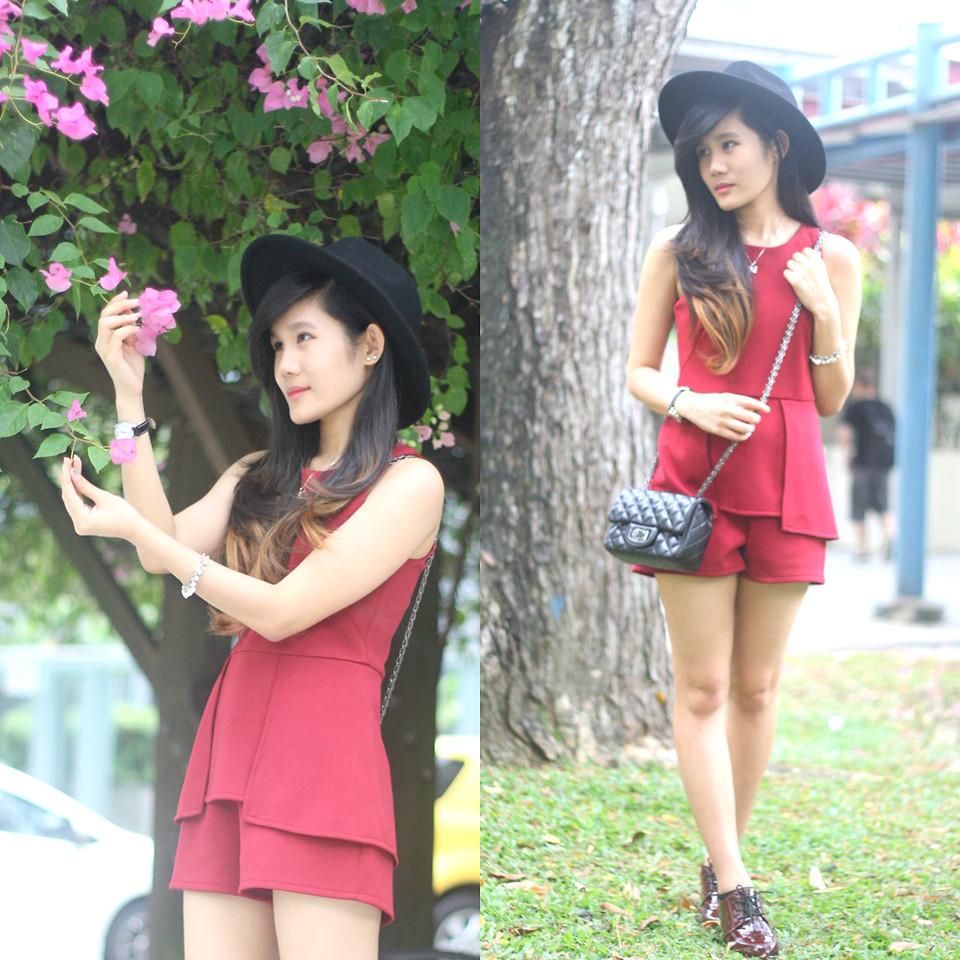 Meliana Chen Indonesia wearing red romper