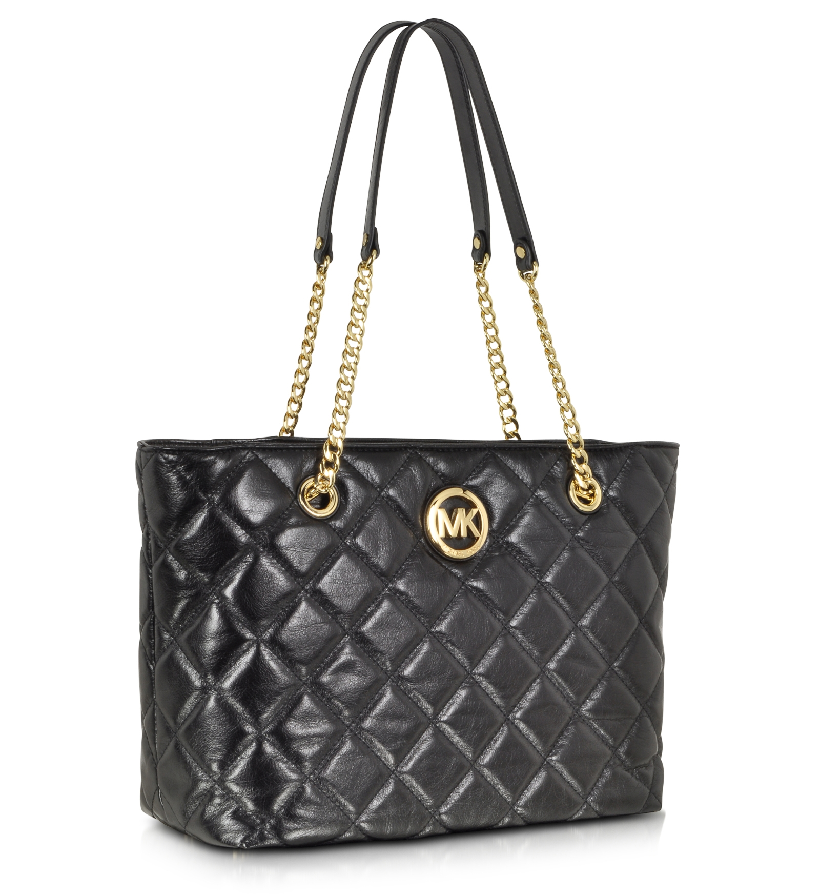 Michael Kors Fulton Quilted Black Leather Large EW Tote