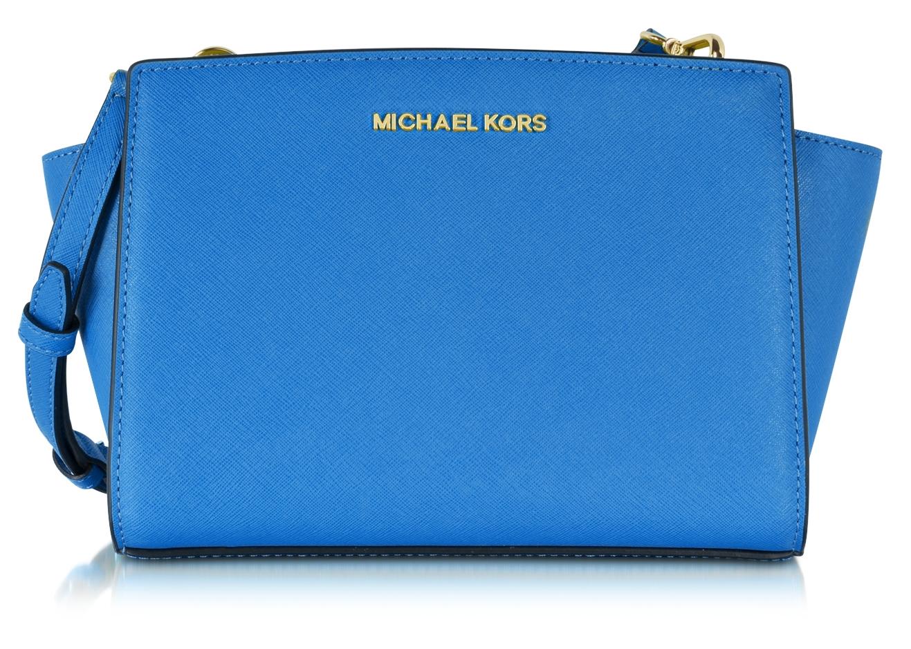 Michael Kors heritage blue Selma Medium Saffiano Leather Messenger Bag