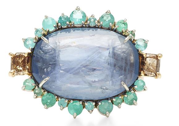 Sharon Khazzam Platinum 18K Rose Gold Brown Diamonds Blue Sapphire Paraiba Tourmaline Dendra ring