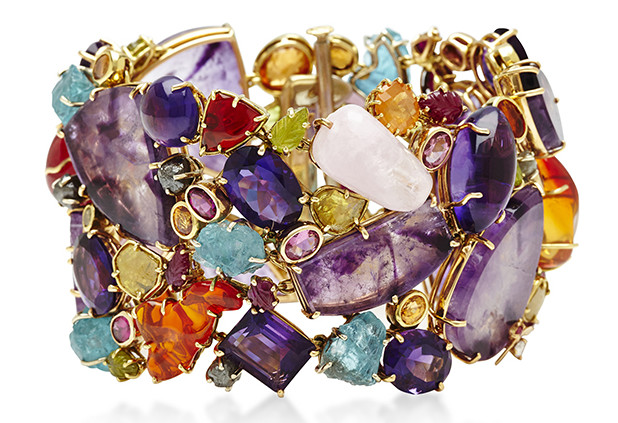 Sharon Khazzam pink tourmaline ruby amethyst morganite sapessartite spatite stones Pandora bracelet