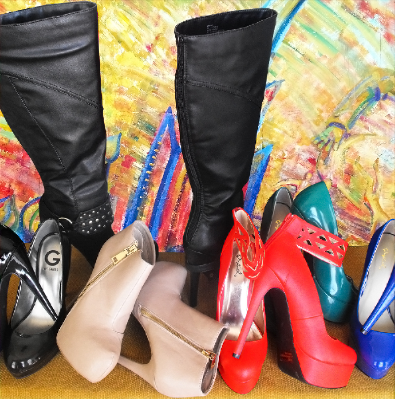 Stiletto pumps ankle boots knee high boots