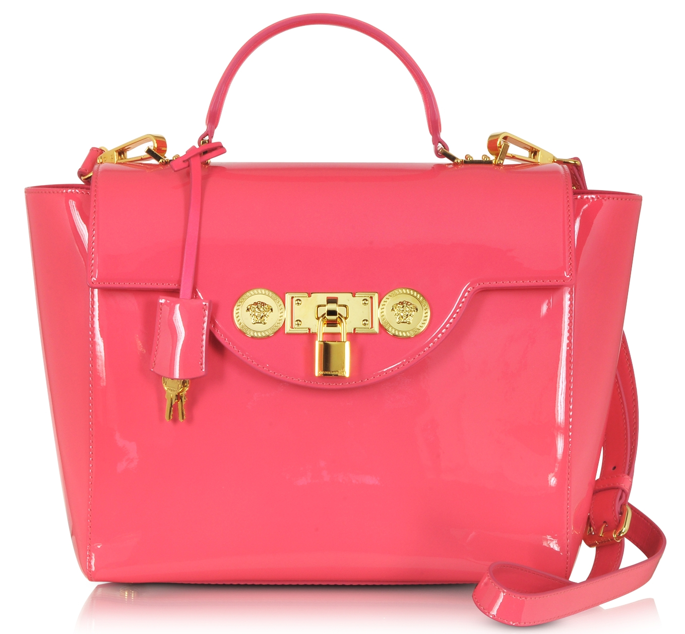 Versace Strawberry Patent Leather Small Signature Lock Satchel