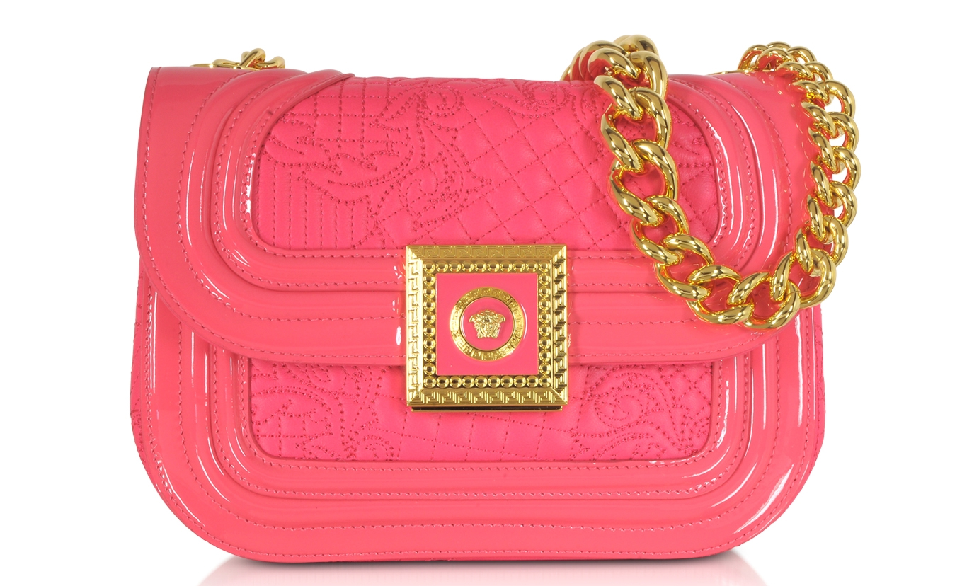 Versace Strawberry Quilted and Patent Leather Micro Vanitas Shoulder Bag