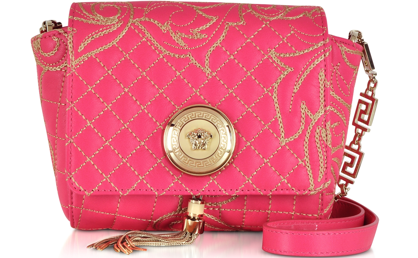 Versace strawberry pink Barocco Quilted Leather Shoulder Bag