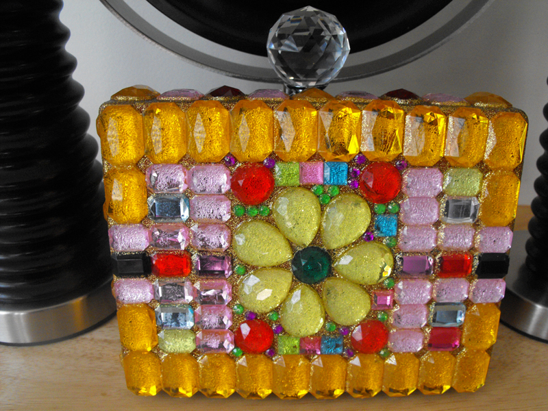 bejeweled glitter diy box clutch 3