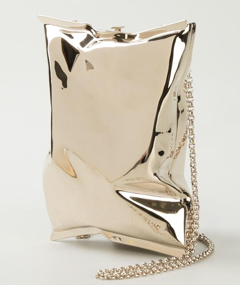 Anya Hindmarch crisp packet clutch gold metallic