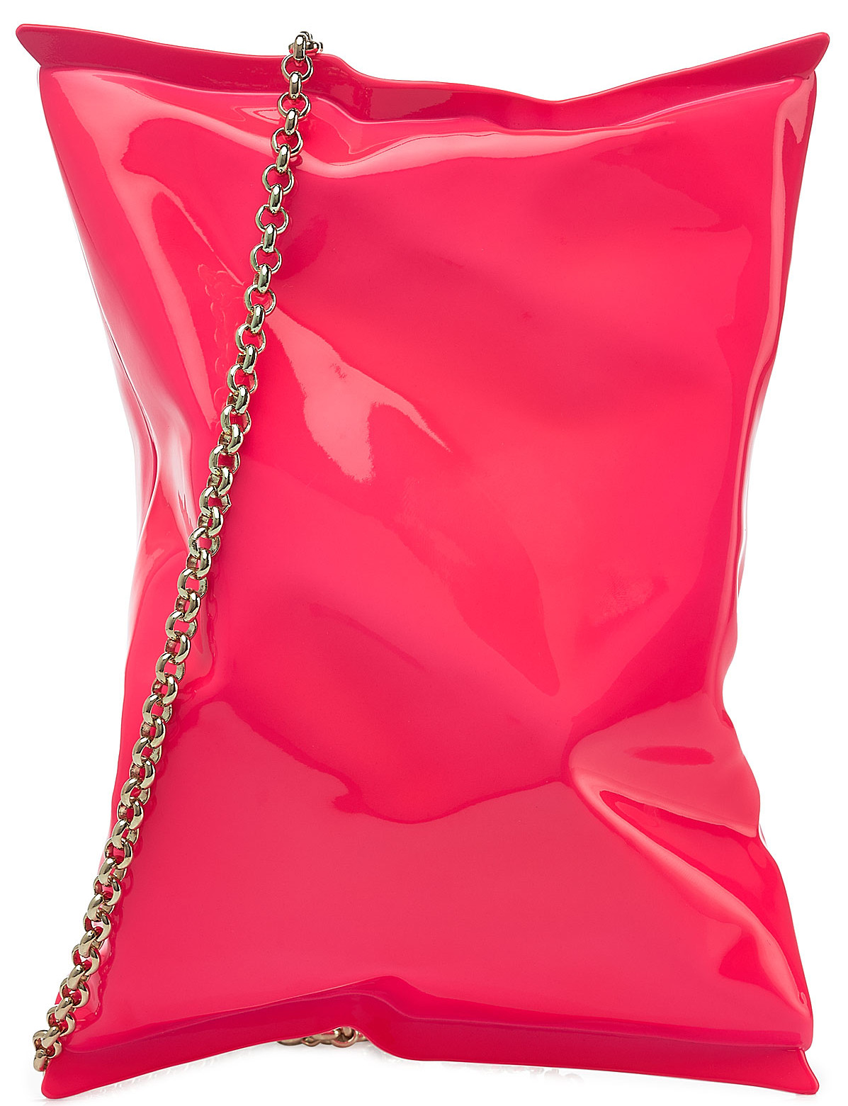 Anya Hindmarch crisp packet clutch hot pink