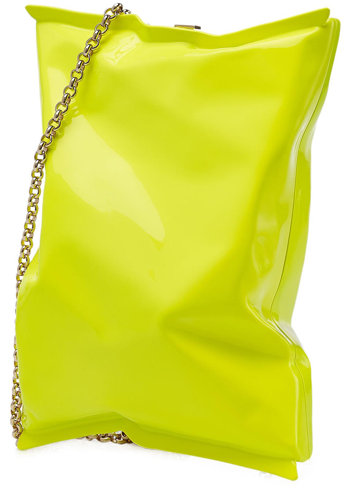 Anya Hindmarch crisp packet clutch neon green