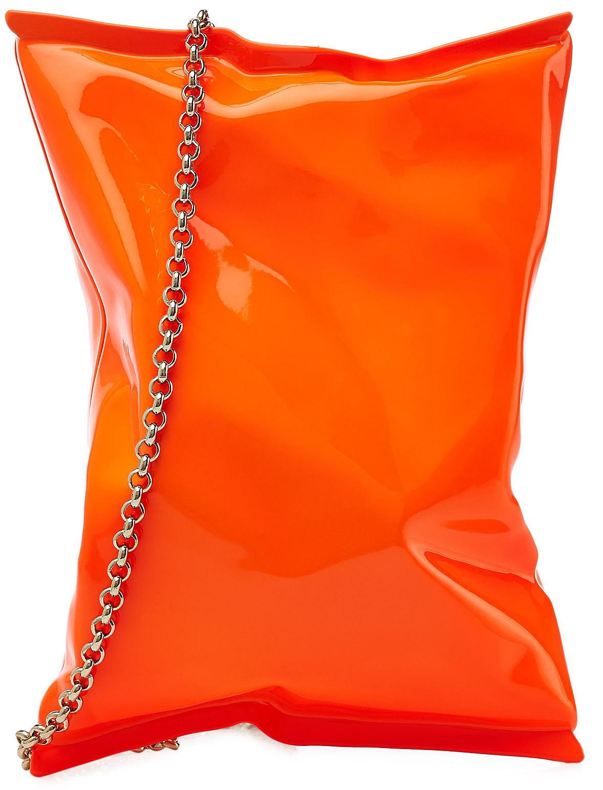 Anya Hindmarch crisp packet clutch neon orange